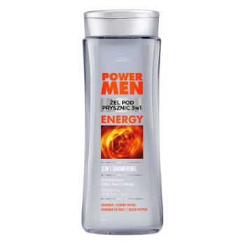 POWER MEN  Żel pod prysznic 3w1 ENERGY czarny pieprz i guarana 300ml