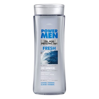 POWER MEN Żel pod prysznic 3w1 FRESH alantoina i hydromanil 300ml